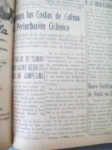 """""""Amenaza las costas de Colima una perturbación ciclónica"""", en Diario de Colima, 1 de octubre de 1958, 1"""