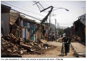 """""""El terremoto en Chile tuvo un costo de 8.000 millones de dólares para la industria reaseguradora y se cobró 562 vidas"""": Sigma, 2011."""