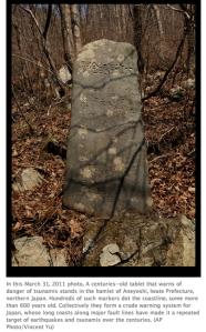 Monolito con inscripción. Foto AP