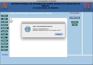 Error al intentar acceder a los mapas, por: http://www.cenapred.unam.mx/es/Atlas/