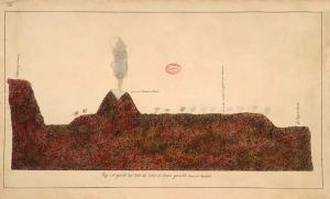 """Viaje al interior del cráter del volcán de Jorullo, por el Sr. Barón de Humboldt. Al lado derecho se notan los """"hornitos"""" que dibujó Humboldt al visitar el volcán. (Imagen: Real Academia de la Historia, Madrid, Sign. C-I a 79)"""