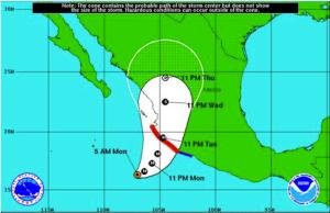 Trayectoria del huracán Jova: Servicio Meteorológico Nacional