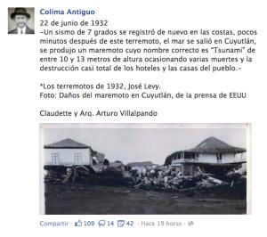 Reciente Post de Colima Antiguo, donde corrige la fecha del tsunami del 22 de junio de 1932 en Cuyutlán, Colima