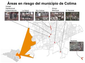 Polígonos de áreas en riesgo en el municipio de Colima