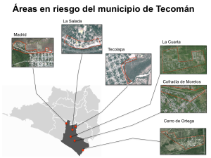 Polígonos de áreas en riesgo en el municipio de Tecomán