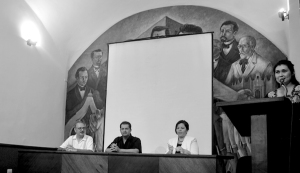 De izquierda a derecha: Dr Gabriel Angelotti Pasteur, Dr. Raymundo Padilla Lozoya y Dra. Celia Esperanza del Socorro Rosado Avilés, durante la inauguración.